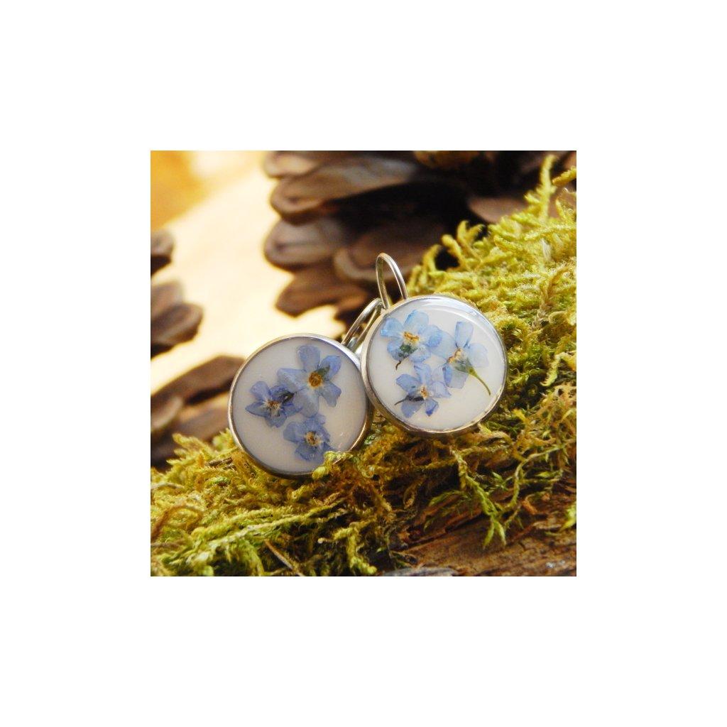 nausnice visaci prave pomnenky modre obduro jewellery