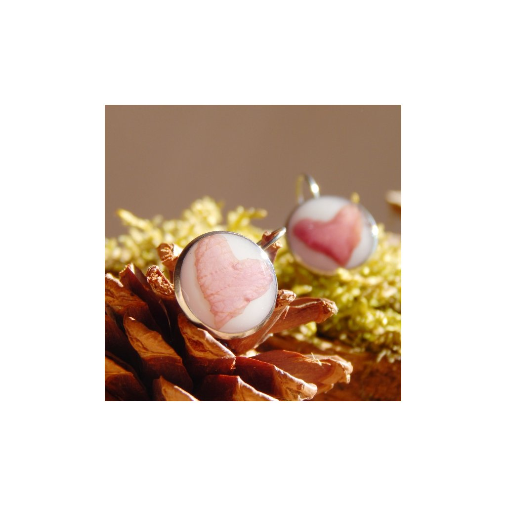 visaci nausnice prave kvety ruze ruzova srdce obduro jewellery
