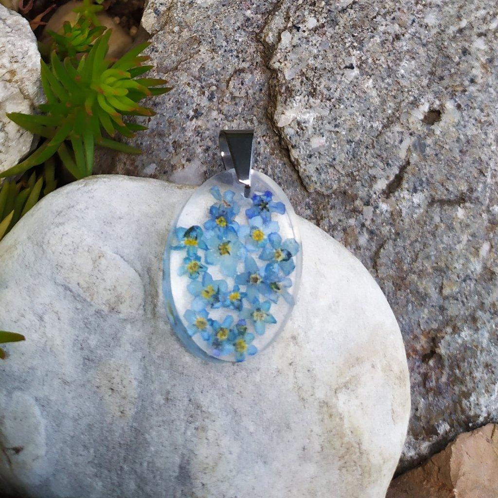 Přívěsek pomněnky ocel OD220007 přívěsek živé květy obduro jewellery