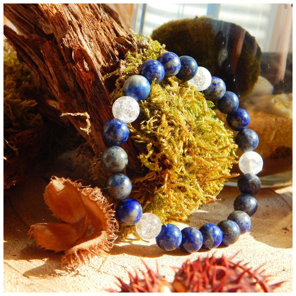 Minerální náramek lapis lazuli, křišťál, Obduro Jewellery