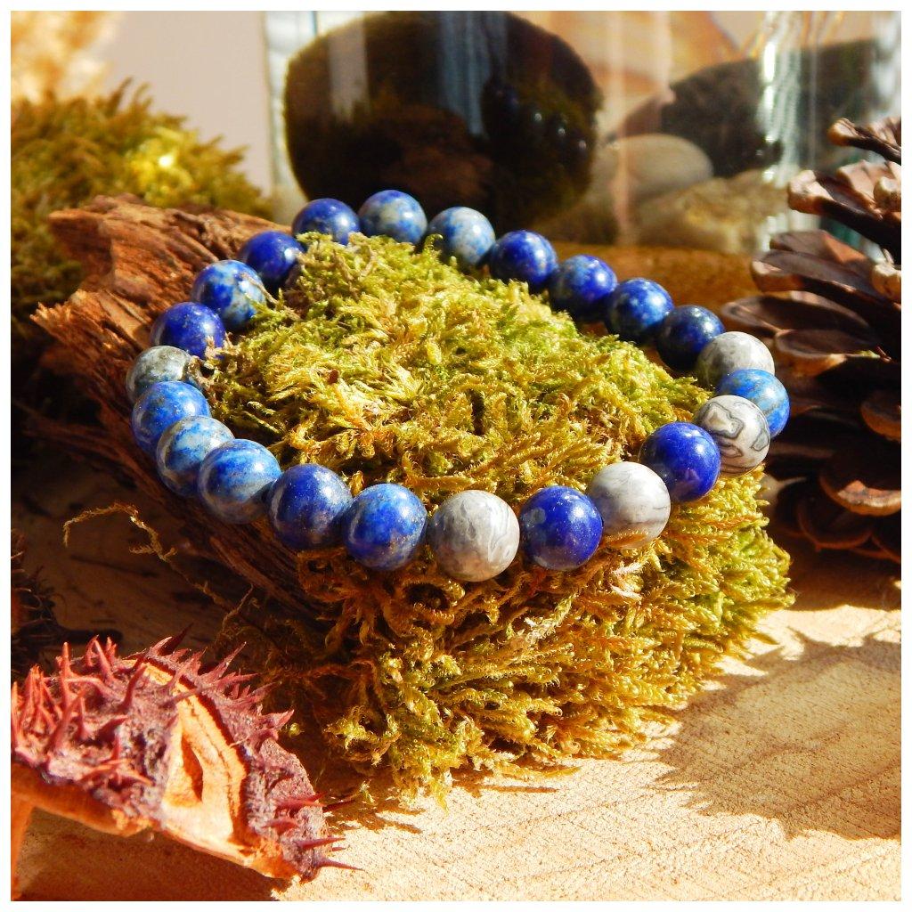 Náramek z minerálů lapis lazuli, jaspis, Obduro Jewellery