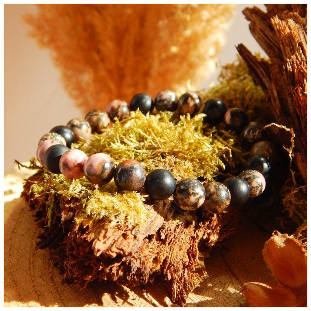 Náramek z minerálů achát a rodonit, Obduro jewellery