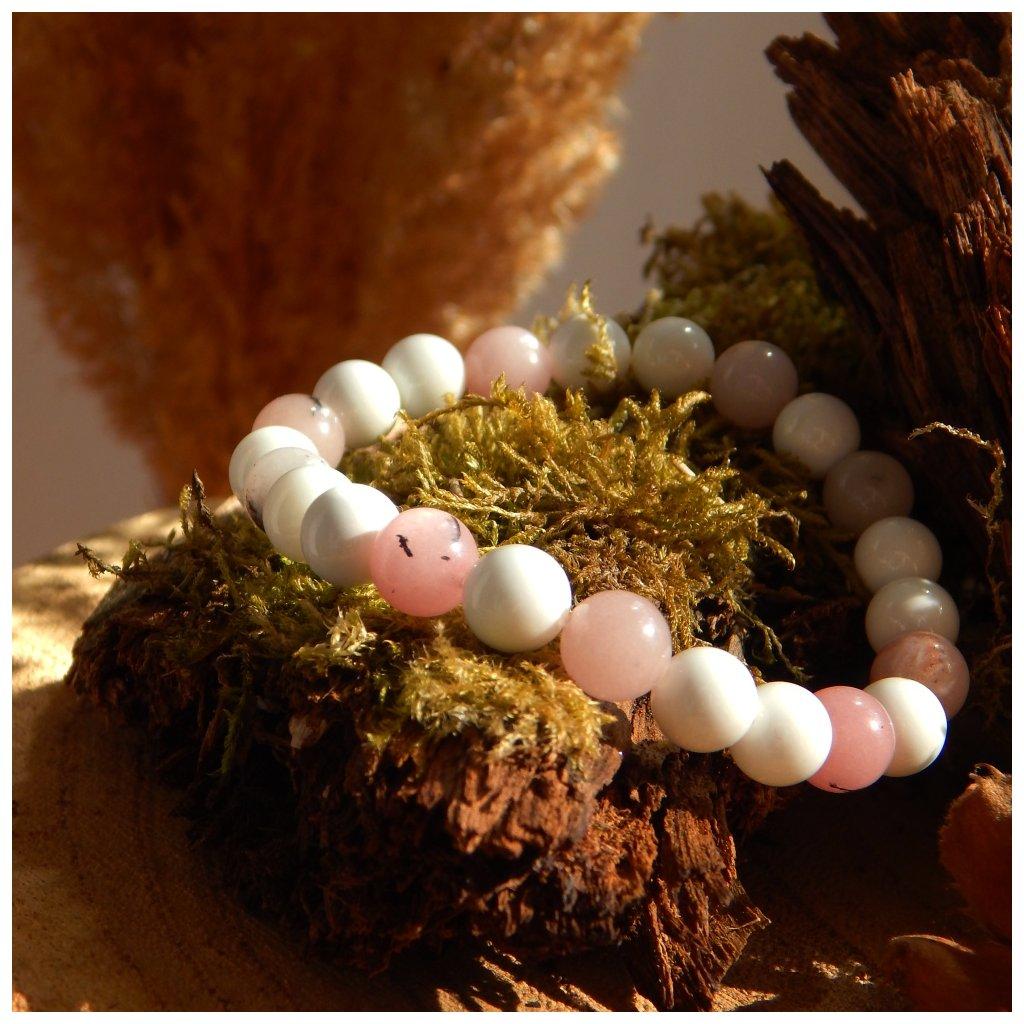 Náramek na gumičce jaspis a jadeit, Obduro jewellery