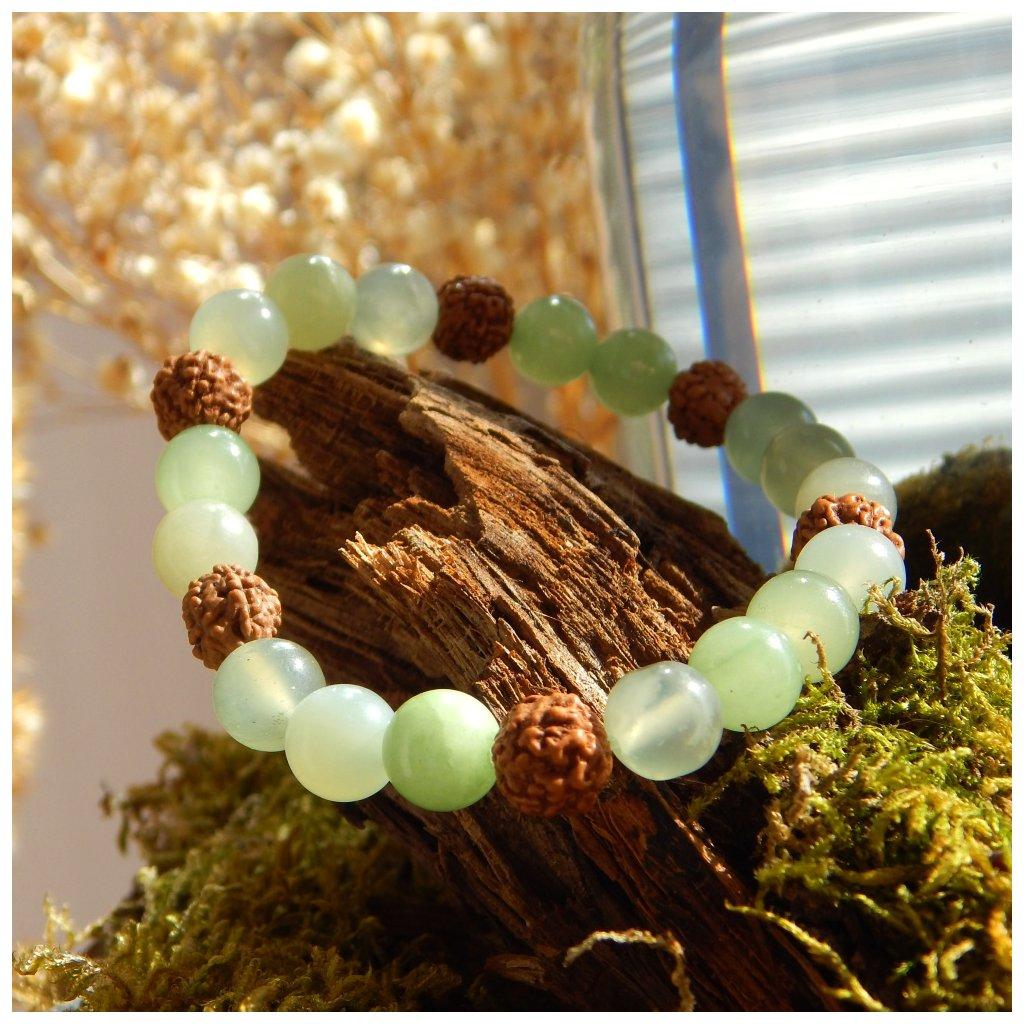 Minerální náramek jadeit a rudraksha, Obduro jewellery