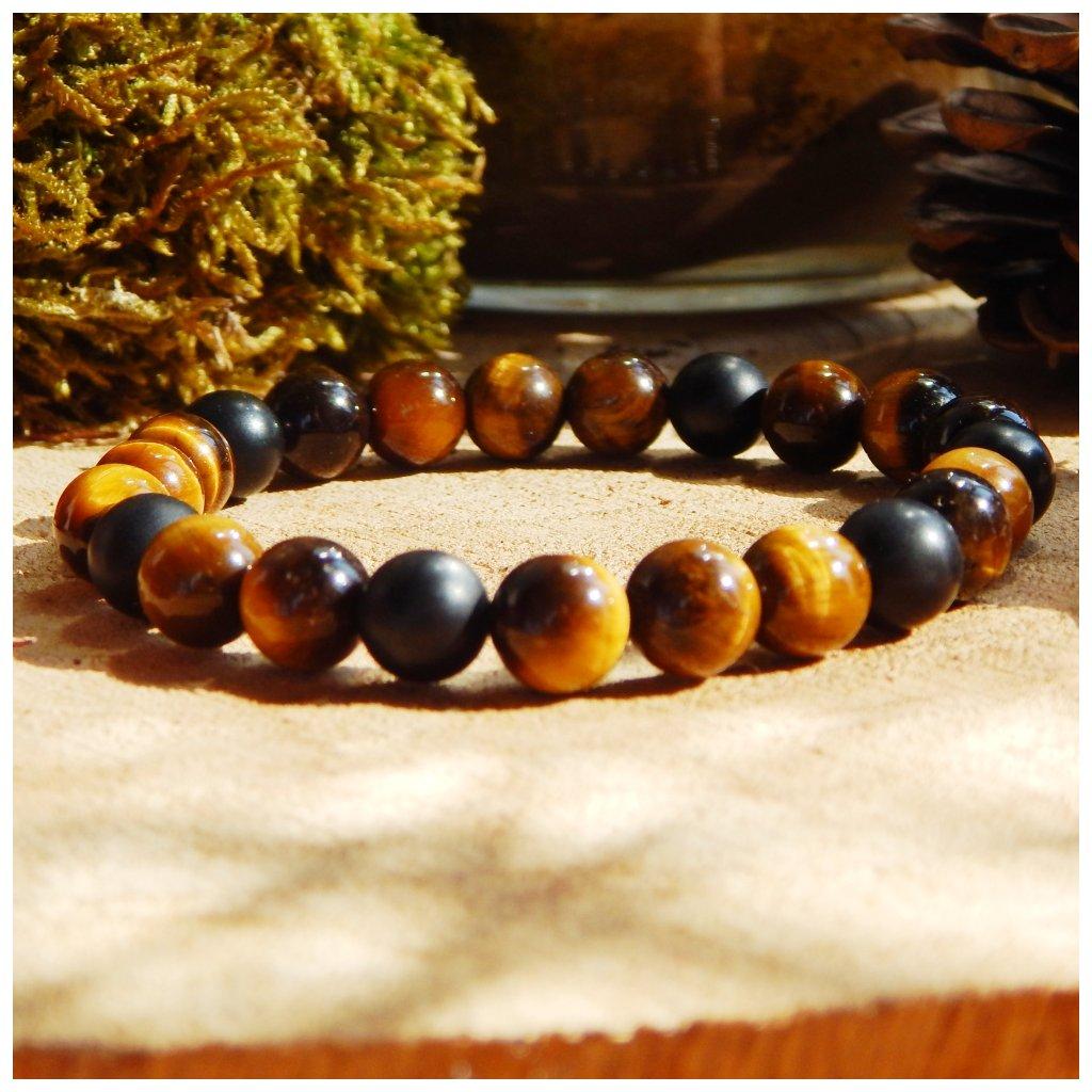 Minerální náramek tygří oko a černý achát, Obduro jewellery