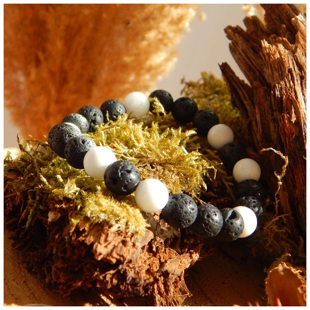 Minerální náramek láva a jadeit, Obduro jewellery