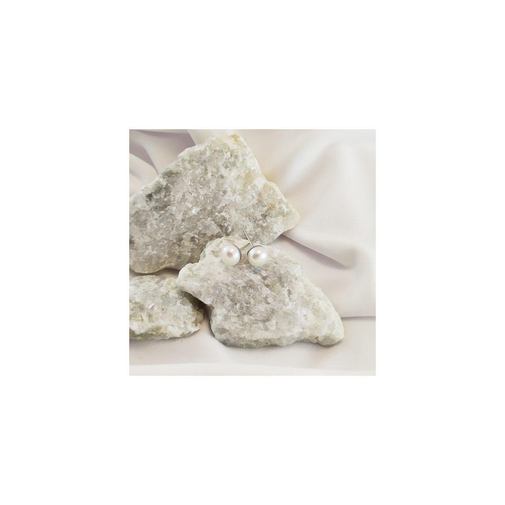 nausnice vpihcovací perly bile obduro jewellery