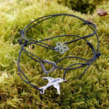 cerny snurkovy naramek ocelovy privesek srdce kytka vlastovka obduro jewellery