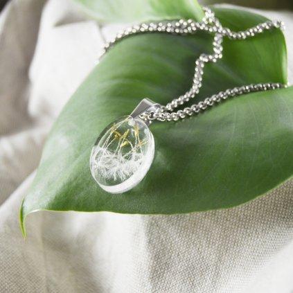 nahrdelnik pampeliska prave kvety ocel obduro jewellery
