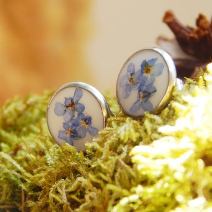 nausnice vpichovaci pecky modre pomnenky velke obduro jewellery