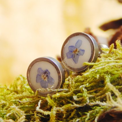 nausnice pecky s pomnenkou modra obduro jewellery