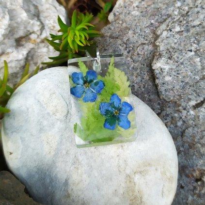 Přívěsek pomněnkovec a kapradí ocel OD220006 přívěsek pravé květy obduro jewellery