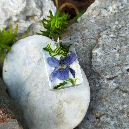 Přívěsek violka a mech ocel OD220009 přívěsek pravé květy obduro jewellery
