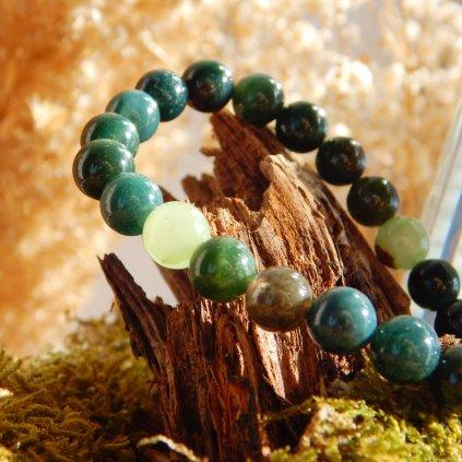 Minerální náramek achát a jadeit, Obduro Jewellery