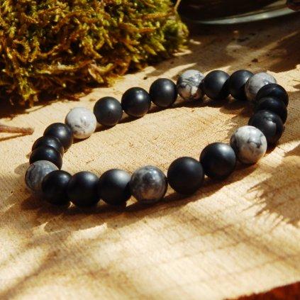 Minerální náramek  jaspis a achát, Obduro jewellery