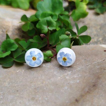 náušnice pomněnky modré obduro jewellery