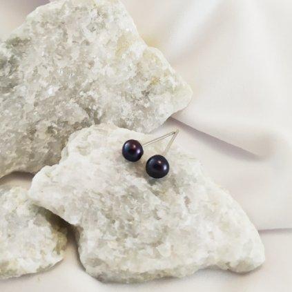 nausnice pecky vpichovaci perly cerne sladkovodni obduro jewellery