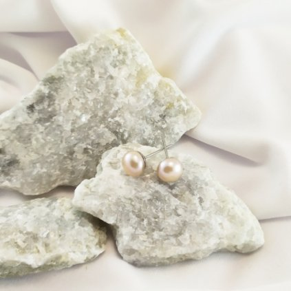 nausnice vpichovaci perly sladkovodni ruzove obduro jewellery