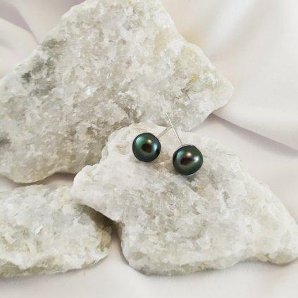 nausnice vpichovaci perly sladkovovdni cerne obduro jewellery
