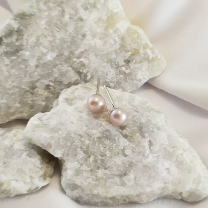 nausnice vpichovaci perly sladkovodni ruzove pecky obduro jewellery