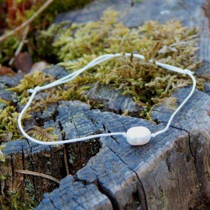 snurkovy sedy naramek s bilou perlou obduro jewellery