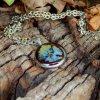 nahrdelnik prave kvety modre pomnenky zelene kapradi ocel obduro jewellery