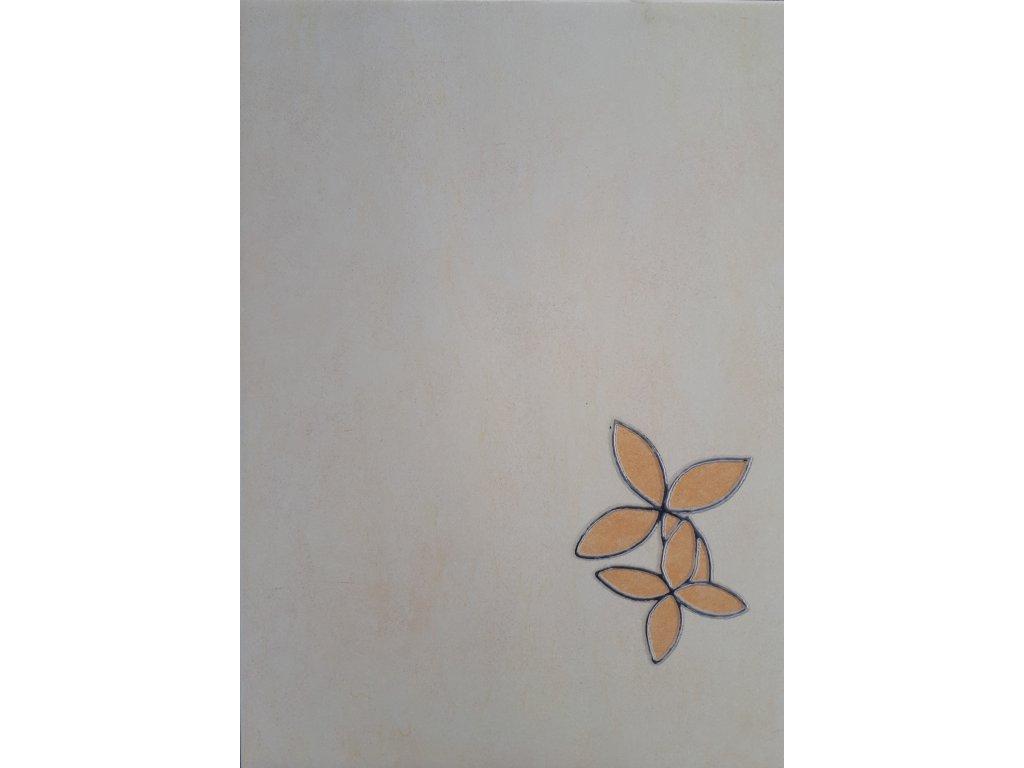 Dekor béžový s květinou