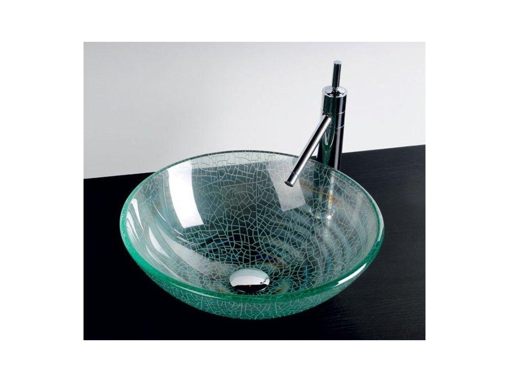 ICE skleněné umyvadlo průměr 42 cm, čirá s pískováním