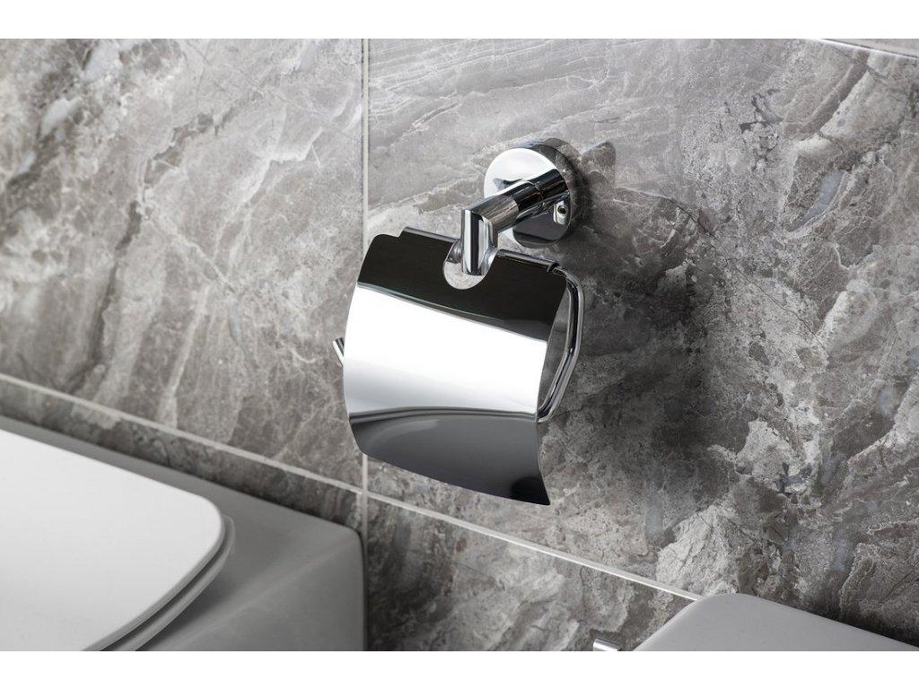 X-ROUND držák toaletního papíru s krytem, chrom