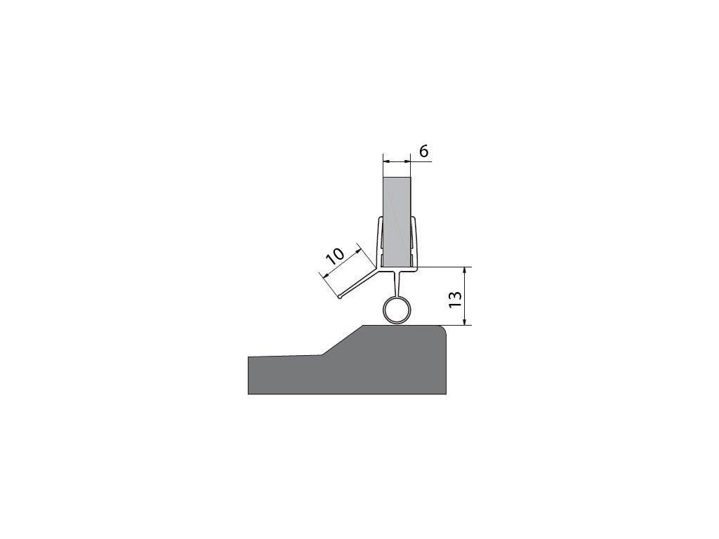 Těsnění na dveře (okapnička) 1000mm, na sklo 6mm