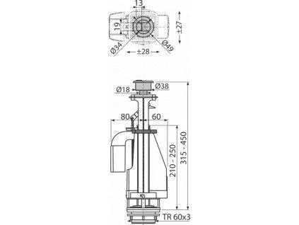 ALCA PLAST Vypouštěcí ventil s dvoutlačítkem A08A