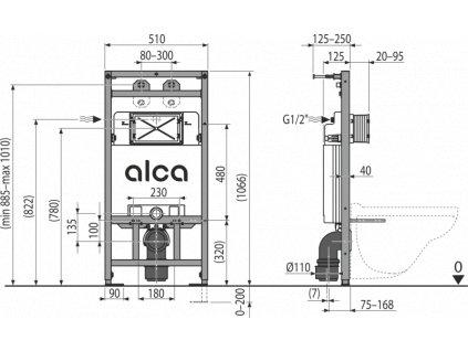 ALCA PLAST Montážní rám s nádržkou pro výlevku s odpadem DN90/110 a baterii A108F/1100