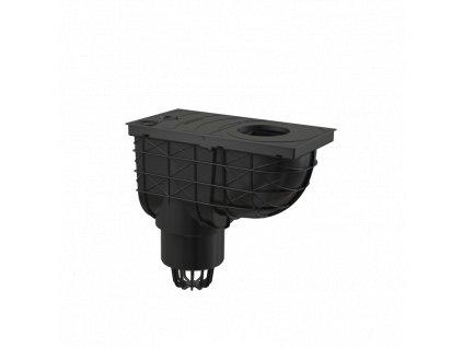 ALCA PLAST Univerzální lapač střešních splavenin 300×155/110 mm přímý, černá AGV1