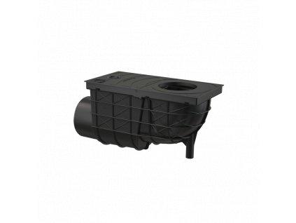 ALCA PLAST Univerzální lapač střešních splavenin 300×155/110 mm boční, černá AGV3