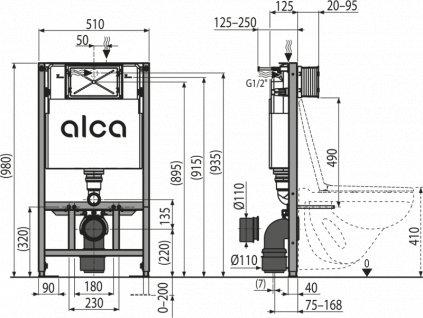 ALCA PLAST Předstěnový instalační systém pro suchou instalaci (do sádrokartonu) AM101/1000