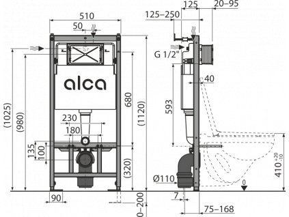 ALCA PLAST Předstěnový instalační systém ECOLOGY pro suchou instalaci (do sádrokartonu) AM101/1120E