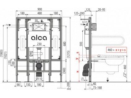 ALCA PLAST Předstěnový instalační systém pro suchou instalaci (do sádrokartonu) – pro osoby se sníženou hybností AM101/1300H