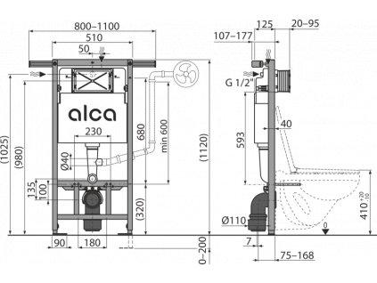 ALCA PLAST Předstěnový instalační systém ECOLOGY pro suchou instalaci (především při rekonstrukci bytových jader) AM102/1120E