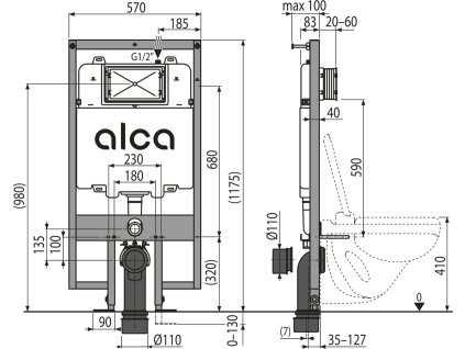 ALCA PLAST Předstěnový instalační systém pro suchou instalaci (do sádrokartonu) AM1101/1200