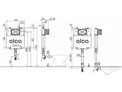 ALCA PLAST WC nádrž pro zazdívání AM1112