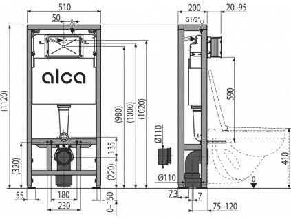 ALCA PLAST Předstěnový instalační systém pro suchou instalaci (do prostoru) AM116/1120