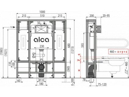 ALCA PLAST Předstěnový instalační systém pro suchou instalaci (do prostoru) – pro osoby se sníženou hybností AM116/1300H