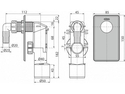 ALCA PLAST Sifon pračkový podomítkový, nerez APS3