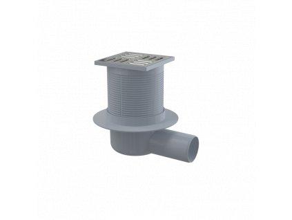 ALCA PLAST Podlahová vpust 105×105/50 mm boční, mřížka nerez, vodní zápachová uzávěra APV1