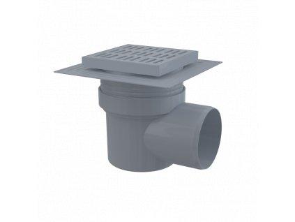 ALCA PLAST Podlahová vpust 150×150/110 mm boční, mřížka šedá, límec 2. úrovně izolace, vodní zápachová uzávěra APV10