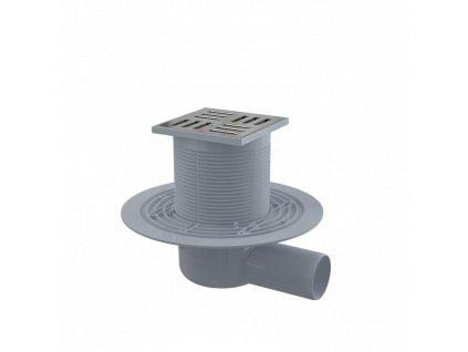 ALCA PLAST Podlahová vpust 105×105/50 mm boční, mřížka nerez, vodní zápachová uzávěra APV101