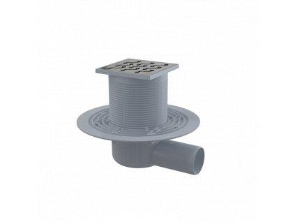 ALCA PLAST Podlahová vpust 105×105/50 mm boční, mřížka nerez, vodní zápachová uzávěra APV102