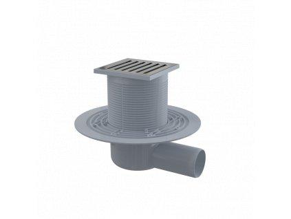ALCA PLAST Podlahová vpust 105×105/50 mm boční, mřížka nerez, vodní zápachová uzávěra APV103
