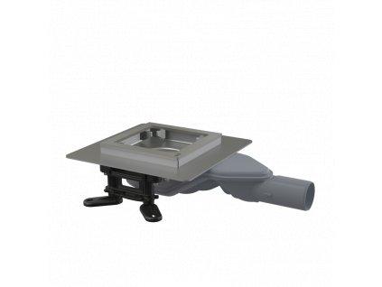ALCA PLAST Podlahová vpust nerezová extra-nízká 130×130 mm boční, bez mřížky, vodní zápachová uzávěra APV110