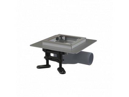 ALCA PLAST Podlahová vpust nerezová nízká 130×130 mm boční, bez mřížky, vodní zápachová uzávěra APV120